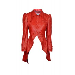 Kristen Tailcoat Ladies Real Leather Gothic Victorian Steampunk Aristocrat Red Jacket Coat 5003