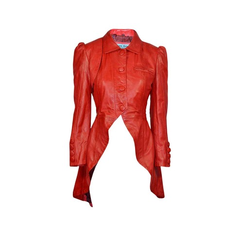 Kristen Tailcoat Ladies Real Leather Gothic Victorian Steampunk Aristocrat Red Jacket Coat 5003, Medium Jackets, 5003 RED, ,