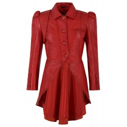 Ladies Gothic Dovetail Real Leather Tailcoat Red Slim Fit Fashion Jacket 5003