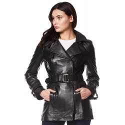Trench Ladies 1123 Black Classic Mid-Length Designer Real Leather Jacket Coat