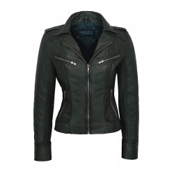 Rider Ladies Green Washed Biker Motorcycle Style Soft Real Nappa Leather Jacket 9823