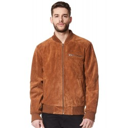 275-Z 70's Classic Bomber Men's Tan Suede Biker Style Italian Fitted Real Leather Jacket