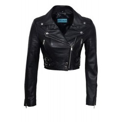 Missy Ladies Short Fashion Fitted Black Biker Soft Napa Goth Leather Jacket Kylie 5625