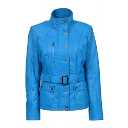 New Ladies Blue Slim Fit Soft Leather Jacket Casual Military Collar Rock 1160