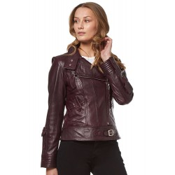 New Supermodel Ladies Oxblood Rock Biker Style Designer Real Nappa Leather Jacket