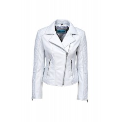 Ladies JESSIE White Stylish Fashion Designer Quilted Soft Real Leather Jacket