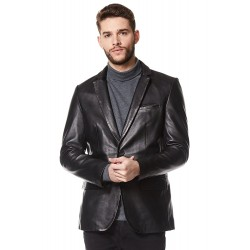 Classic Men's Real Leather Jacket Blazer Black Tailored Soft Napa Coat Z-120
