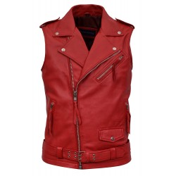 Men's Brando Red Motorcycle Biker Steam Punk Real Nappa Leather Waistcoat 1025