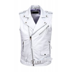 Men's Brando White Motorcycle Biker Steam Punk Real Nappa Leather Waistcoat 1025