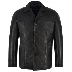 Men's Retro Style Real Leather Black Lambskin Reefer Jacket Mid Length Coat 4010