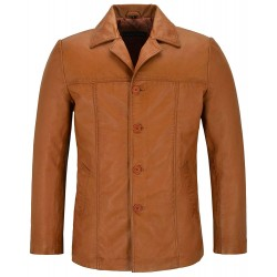 New Tan Men's Classic Hip Length Coat Real Lambskin Nappa Leather Jacket 4010