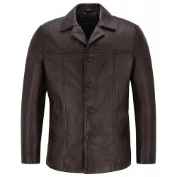 New Brown Men's Classic Hip Length Coat Real Lambskin Nappa Leather Jacket 4010