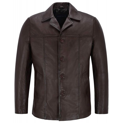 New Brown Men s Classic Hip Length Coat Real Lambskin Nappa Leather Jacket 4010, Medium Jackets, 4010 Brown, ,