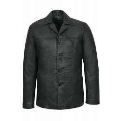 New Green Men's Classic Hip Length Coat Real Lambskin Nappa Leather Jacket 4010