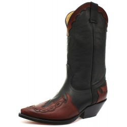 Grinders Arizona Black Burgundy Real Leather Cowboy Boot Slip On Pointed Boots New Western Fashion Stylish Unisex Hand Crafted Shoes