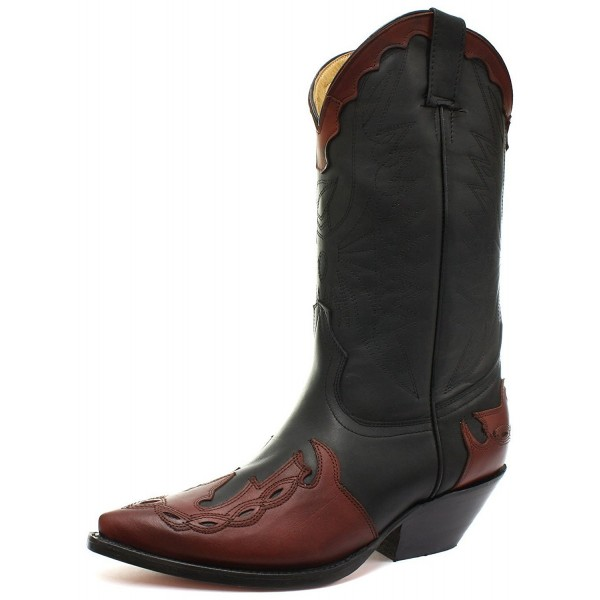 Grinders Arizona Black Burgundy Real Leather Cowboy Boot Slip On Pointed  Boots New Western Fashion Stylish ... dc693a3ab