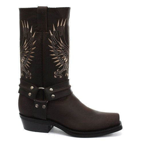 Grinders Bald Eagle Brown Leather Cowboy Boot Slip On Square Toe Front Boots New Western Fashion Stylish Unisex Hand Crafted Shoes, Ladies Grinders, Grinders Bald Eagle Brown, ,