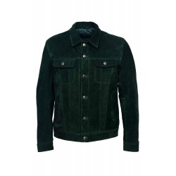 'Trucker' Men's Green Suede Classic Real Cowhide Western Leather Jacket 1280
