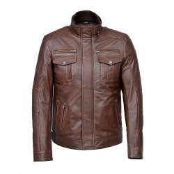 New 1501 Men's Brown Antique Casual Style Vintage Soft Nappa Real Leather Jacket