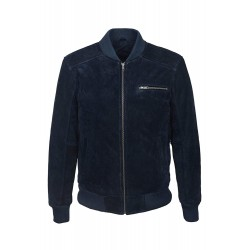 70's Classic Bomber Men's Navy Suede Classic Biker Style Italian Fitted Real Leather Jacket 275