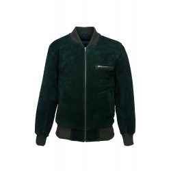 70'S Retro Bomber Men's Green Suede Cool Classic Soft Italian Leather Jacket 275-Z
