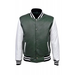 Baseball Varsity College DJ Green White Men's Slim Fit Stylish Hiphop Rap Leather Jacket