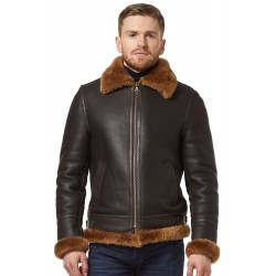 Men's Brown B3 Shearling Sheepskin World War 2 Leather Flying Aviator Jacket