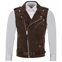 Men's Brando Brown Suede Motorcycle Biker Steam Punk Real Leather Waistcoat 1025