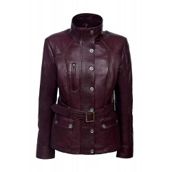 New Ladies Cherry Red Slim Fit Soft Leather Jacket Casual Military Collar Rock 1160