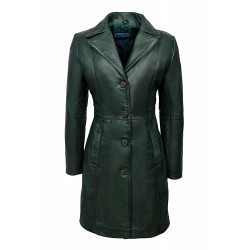 Trench Ladies Green Classic Knee-Length Designer Real Napa Leather Jacket Coat 3457