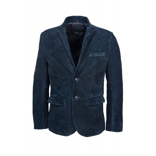 New stylsih Millano 2 button CLASSIC BLAZER Men Navy suede Leather Jackets, Medium Jackets, Millano Suede Navy, ,