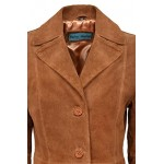 Trench Ladies Classic Knee-Length Designer Real Suede Leather Jacket Coat 3457, Medium Jackets, Tan Suede  3457, ,