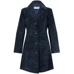 Trench Ladies Classic Knee-Length Designer Real Suede Leather Jacket Coat 3457, Medium Jackets, Blue Suede 3457, ,