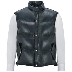 Men's Puffer Leather Waistcoat Navy Padded Lambskin Leather Casual Vest Style