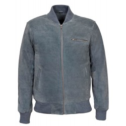 275 70's Men's Grey Suede Classic Biker Style Italian Fitted Real Leather Jacket
