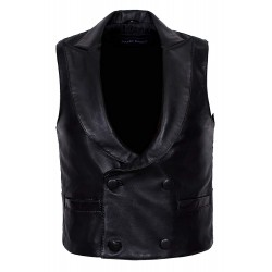 'Edwardian' Men's Black Steam Punk Victorian Real Lambskin Leather Waistcoat 3281