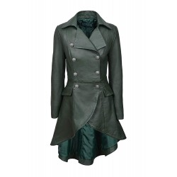 EDWARDIAN Ladies Women Green Washed Real Napa Leather LACED BACK Jacket Coat Gothic