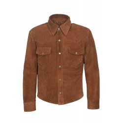 Men's Tan Suede Adjustable Collar Casual Retro Soft Real Leather Shirt Jacket M114