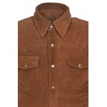 Men s Tan Suede Adjustable Collar Casual Retro Soft Real Leather Shirt Jacket M114, Short Jackets, M114 Tan Suede, ,