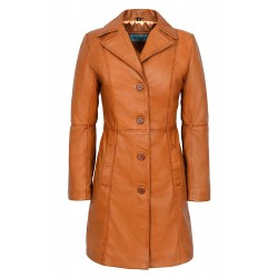 Trench 3457 Ladies Tan Classic Knee-Length Designer Real Nappa Leather Jacket Coat