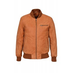 70's Classic Bomber Men's Tan Buff Biker Style Italian Fitted Real Leather Jacket 275