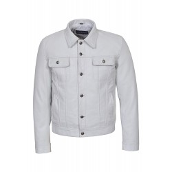 Men's Trucker White Real Lamb Leather Casual Denim Style Button Western Jacket 1280