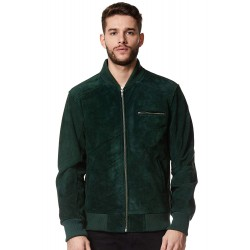 Men's Real Leather Jacket Green Suede Classic Biker Style Italian Fitted 275