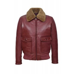 Johnson Classic A2 Men's Real Leather Flight WW2 Dark Cherry Ginger Shearling Collar Pilot Bomber Jacket 3070