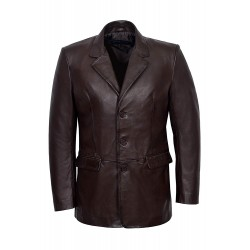 'Classic Blazer' Men's Brown Tailored Soft Real Nappa Leather Jacket Coat Slim Jim