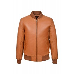 70's Classic Bomber Men's Tan Plain Napa Wax Biker Style Italian Fitted Real Leather Jacket275-P