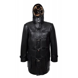 New 8294 Men's Hooded Coat Knee Length BLACK Real SOFT NAPA lambskin Leather