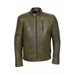 Men's New Deniel Style M-137 OLIVE GREEN Soft Wax Casual Lamb Leather Jacket