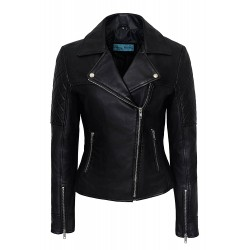 Ladies 1075 BLACK Quilted Biker Style Motorcycle Soft Napa Leather Jacket