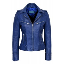 RIDER Ladies Blue WASHED Biker Motorcycle Style Soft Real Nappa Leather Jacket